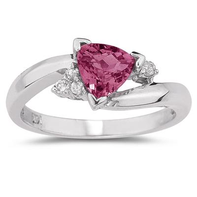 3/4 Carat Trillion Cut Pink Topaz  and Diamond Ring in 14K White Gold