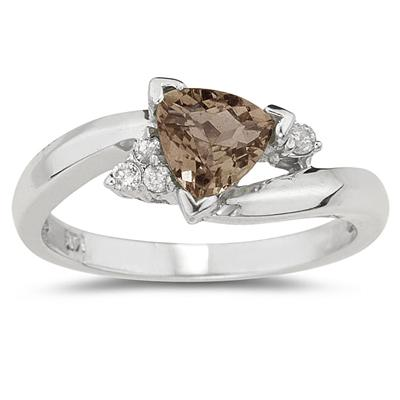 .75ct Trillion Cut Smokey Quartz  and Diamond Ring in 14K White Gold