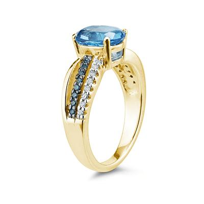 Blue Topaz and Blue and White Diamond Ring in 10K Yellow Gold