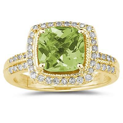 2.50 Carat Cushion Cut Peridot & Diamond Ring in 14K Yellow Gold
