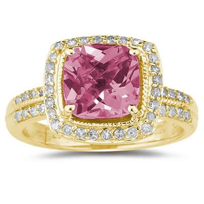 2.50 Carat Cushion Cut Pink Topaz & Diamond Ring in 14K Yellow Gold