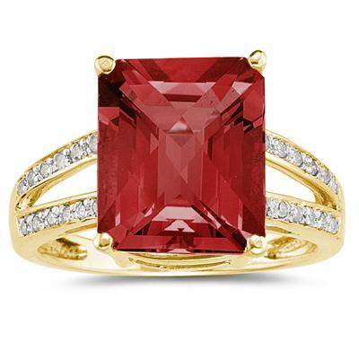 Emerald  Cut Garnet and Diamond Ring 10k Yellow  Gold