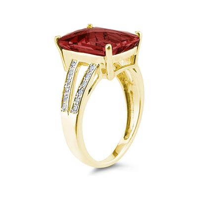 Emerald  Cut Garnet and Diamond Ring 10k Yellow  Gold