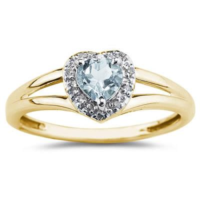 Heart Shaped  Aquamarine and Diamond Ring
