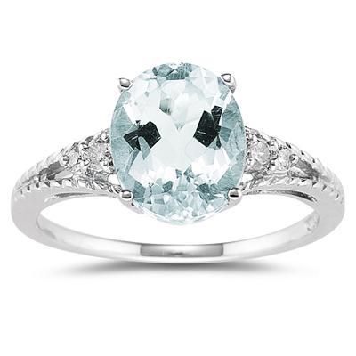 Oval Cut Aquamarine & Diamond Ring in 14k White Gold