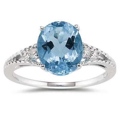 Oval Cut Blue Toapz & Diamond Ring in White Gold