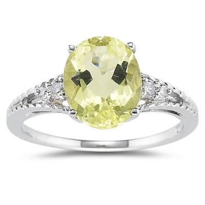 Oval Cut Lemon Quartz & Diamond Ring in White Gold