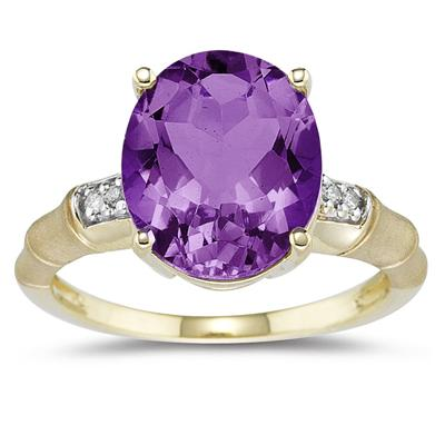 3.97 Carat Amethyst and Diamond Ring in 14K Yellow Gold