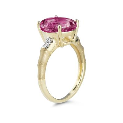 3.97 Carat Pink Topaz  and Diamond Ring in 14K Yellow Gold