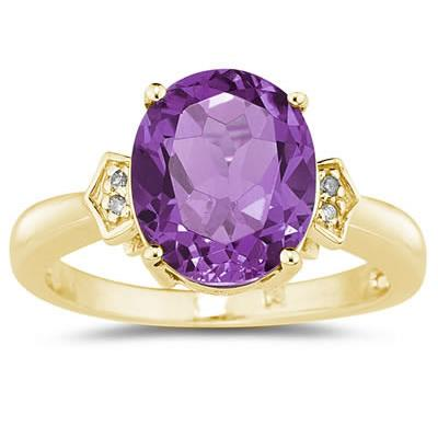4.50 Carat  Amethyst  & Diamond Ring in Yellow Gold