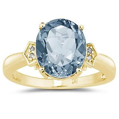 Aquamarine  & Diamond Ring in Yellow Gold