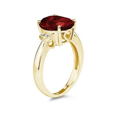 Garnet  & Diamond Ring in 10k Yellow Gold