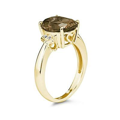 4.50 Carat Smokey Quartz  & Diamond Ring in Yellow Gold