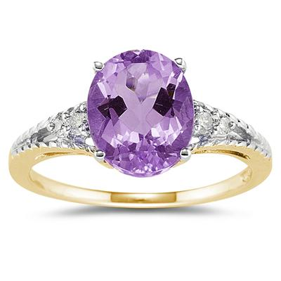 Oval Cut Amethyst & Diamond Ring in Yellow Gold