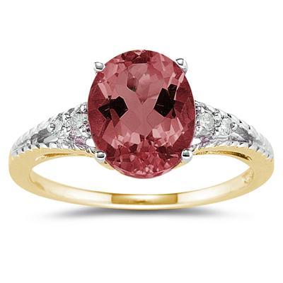 Oval Cut Garnet & Diamond Ring in 14k Yellow Gold