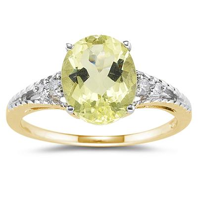 Oval Cut Lemon Quartz & Diamond Ring in Yellow Gold