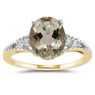 Oval Cut Smokey Quartz & Diamond Ring in 14k Yellow Gold