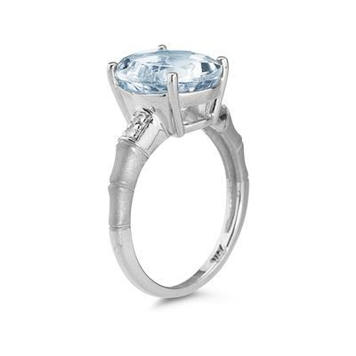 3.97 Carat  Aquamarine and Diamond Ring in 14K White Gold