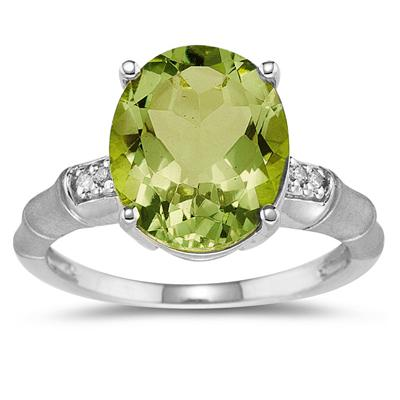 3.97 Carat  Peridot and Diamond Ring in 14K White Gold