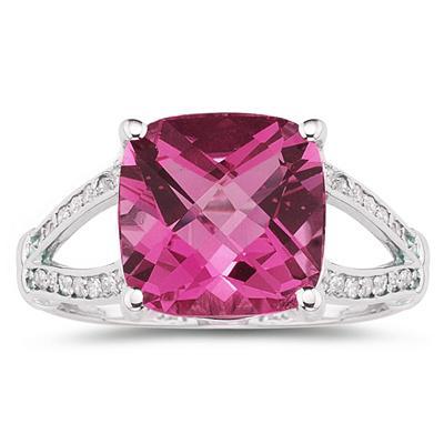 Cushion Cut Pink Topaz and Diamond Ring 10k White Gold