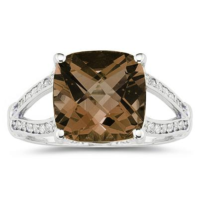 Cushion Cut Smokey Quartz and Diamond Ring 10k White Gold