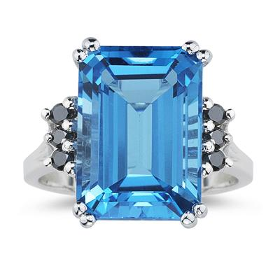 Emerald  Cut Blue Topaz and Black Diamond Ring 10k White Gold.