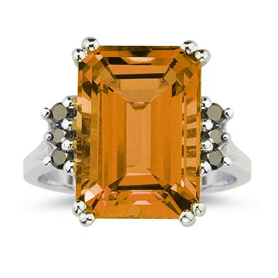 Emerald Cut Citrine and Black Diamond Ring 10k White Gold.
