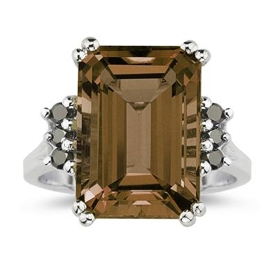 Emerald Cut  Smokey Quartz and Black Diamond Ring 10k White Gold.
