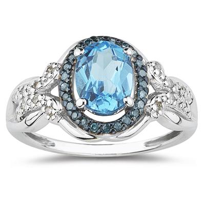 Blue Topaz and Blue and White Diamond Ring in 10K White Gold