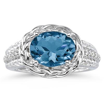 2.33 Carat Oval Shape Blue Topaz and Diamond Ring in 10kt White Gold