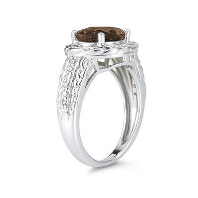 2.33 Carat Oval Shape Smokey Quartz and Diamond Ring in 10K White Gold