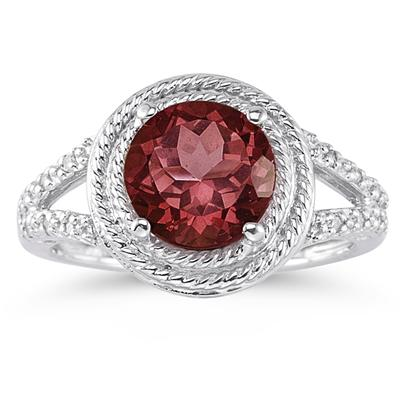 Garnet and Diamond Ring in 10K White Gold