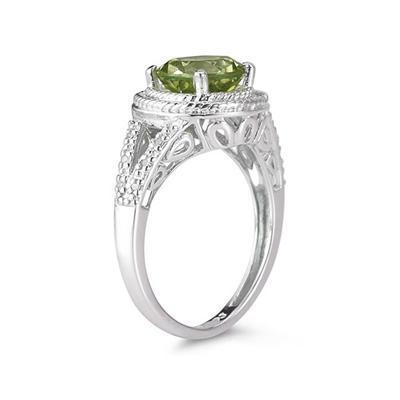 Peridot and Diamond Ring in 10K White Gold