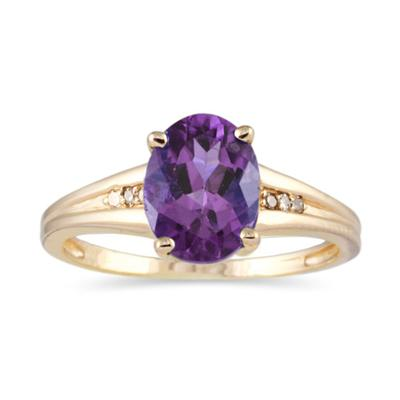 1.20ct Oval Cut Amethyst  & Diamond Ring in Yellow Gold