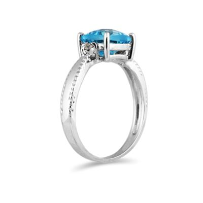 1.5Ct. Cushion Cut Blue Topaz and Diamond Milgraine Ring 10k White Gold