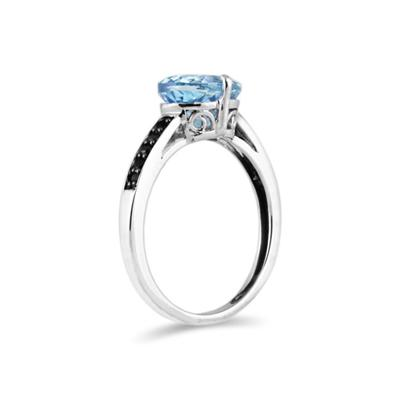 Blue Topaz and Black Diamond Ring in 10K White Gold