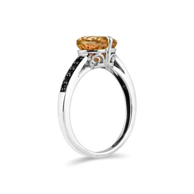Citrine and Black Diamond Ring in 10K White Gold