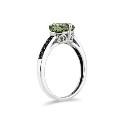Green Amethyst and Black Diamond Ring in 10K White Gold