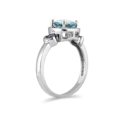 Cushion Cut Aquamarine & Tanzanite and Diamond White Gold Ring