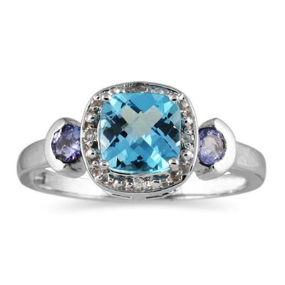 Cushion Cut Blue Topaz & Tanzanite and Diamond 10k White Gold Ring
