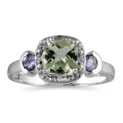 Cushion Cut Green Amethyst & Tanzanite and Diamond 10k White Gold Ring