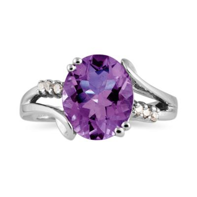 3ctw. Oval Cut Amethyst & Diamond Ring in White Gold