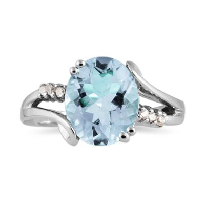 3ctw. Oval Cut Aquamarine & Diamond Ring in White Gold