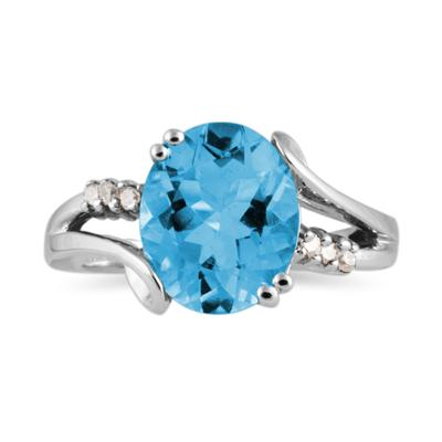 3ctw. Oval Cut Blue Topaz & Diamond Ring in White Gold