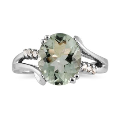 3ctw. Oval Cut Green  Amethyst  & Diamond Ring in White Gold