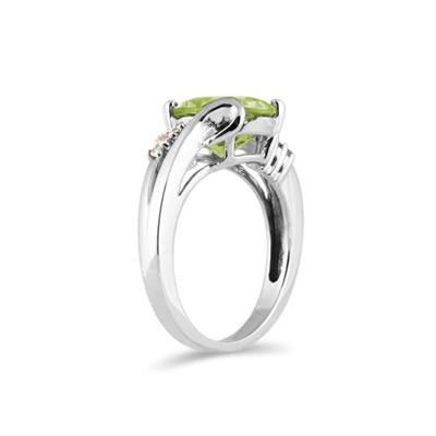 3 Carat TW Oval Cut Peridot & Diamond Ring in 10k White Gold