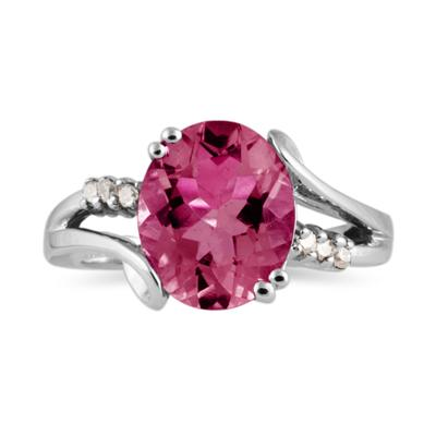 3ctw. Oval Cut Pink Topaz & Diamond Ring in White Gold