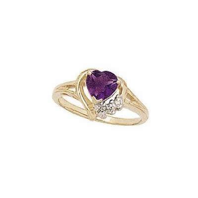 Heart-shaped Amethyst & Diamond Heart Ring 10k Yellow Gold