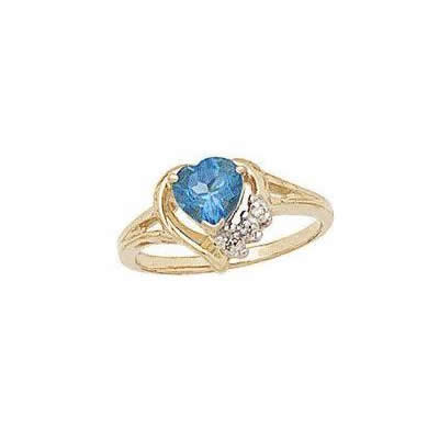 Heart-shaped Blue Topaz & Diamond Heart Ring