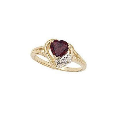 Heart-shaped Garnet & Diamond Heart Ring 10k YG